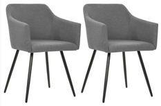 Chaise de salle à manger avec accoudoirs tissu gris Sary - Lot de 2