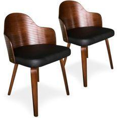 Chaise de salle à manger bois foncé et simili cuir noir Pala - Lot de 2