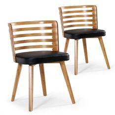 Chaise design bois clair et simili noir Rouby - Lot de 2