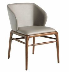 Chaise design bois noyer et simili cuir Riva - Lot de 2