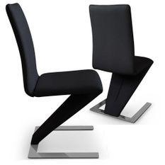 Chaise design simili noir Vogue - Lot de 2