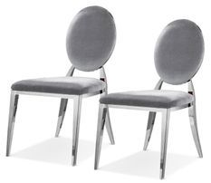 Chaise design velours gris et argent chromé Dayzi - Lot de 2