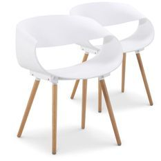 Chaise forme originale Blanc Prada - Lot de 2