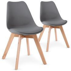 Chaise grise style scandinave Spak - Lot de 2