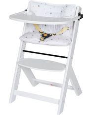 Chaise haute avec plateau hêtre massif laqué blanc Domino