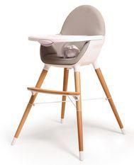 Chaise haute bébé tissu gris et pieds hêtre massif clair Webaby