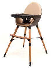 Chaise haute bébé tissu marron et pieds hêtre massif Confort