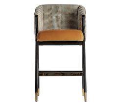 Chaise haute avec accoudoirs velours moutarde et pieds hévéa massif noir Bari - Lot de 2