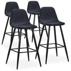 Chaise haute de bar velours noir Kofy - Lot de 4