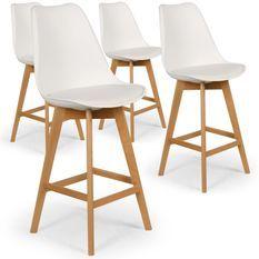 Chaise haute Scandinave Orna Blanc - Lot de 4