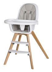 Chaise haute simili cuir gris et pieds hêtre massif clair Holly