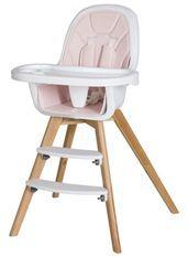 Chaise haute simili cuir rose et pieds hêtre massif clair Holly
