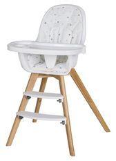 Chaise haute tissu blanc et pieds hêtre massif clair Holly