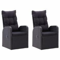Chaise inclinable de jardin 2pc et coussins Résine tressée Noir