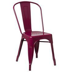 Chaise industrielle acier brillant bordeaux Kontoir