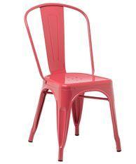 Chaise industrielle acier brillant framboise Kontoir