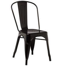 Chaise industrielle acier brillant noir Kontoir