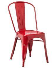Chaise industrielle acier brillant rouge Kontoir
