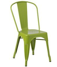 Chaise industrielle acier brillant vert flore Kontoir