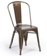 Chaise industrielle acier brossé brillant bronze luxe