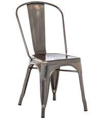 Chaise industrielle acier brossé brillant luxe