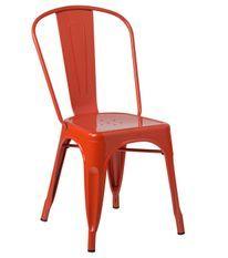 Chaise industrielle acier vieilli orange Kontoir