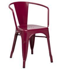 Chaise industrielle avec accoudoirs acier brillant blanc Kuista