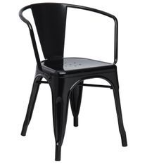 Chaise industrielle avec accoudoirs acier brillant noir Kuista