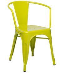Chaise industrielle avec accoudoirs acier brillant vert anis Kuista