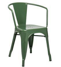 Chaise industrielle avec accoudoirs acier brillant vert platane Kuista