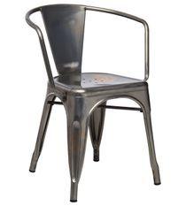 Chaise industrielle avec accoudoirs acier brossé brillant luxe