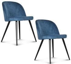 Chaise velours bleu canard pieds métal noir Palace - Lot de 2
