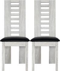 Chaise bois chêne cérusé gris Kathy - Lot de 2