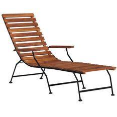 Chaise longue acacia massif foncé et pieds métal noir Siori