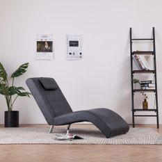 Chaise longue avec oreiller Gris Similicuir daim