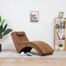 Chaise longue avec oreiller Marron Similicuir daim