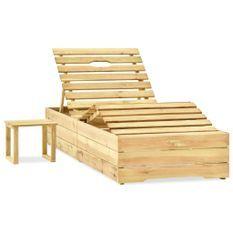 Chaise longue avec table Bois de pin imprégné de vert
