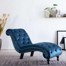 Chaise longue Bleu Velours