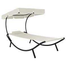 Chaise longue de jardin avec auvent et oreiller Blanc crème
