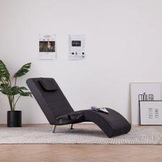 Chaise longue de massage avec coussin Marron Similicuir