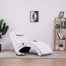 Chaise longue de massage avec oreiller Blanc Similicuir
