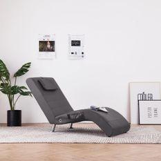 Chaise longue de massage avec oreiller Gris Similicuir