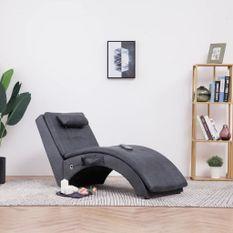 Chaise longue de massage avec oreiller Gris Similicuir daim
