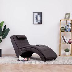 Chaise longue de massage avec oreiller Marron Similicuir