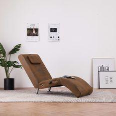 Chaise longue de massage avec oreiller Marron Similicuir daim