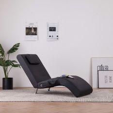 Chaise longue de massage avec oreiller Noir Similicuir