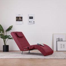 Chaise longue de massage avec oreiller Rouge bordeaux Similicuir