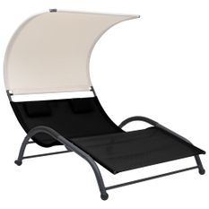 Chaise longue double avec auvent Textilène Noir