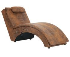 Chaise longue électrique vintage simili cuir marron vieilli et pieds pin massif Barielle