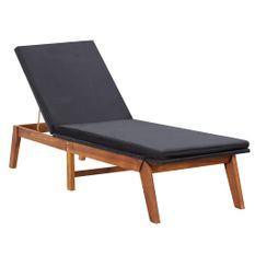 Chaise longue et coussin Résine tressée et bois d'acacia massif